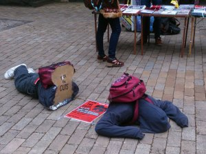Students protest against education cuts at the University of Melbourme Parkville, September, 2013.